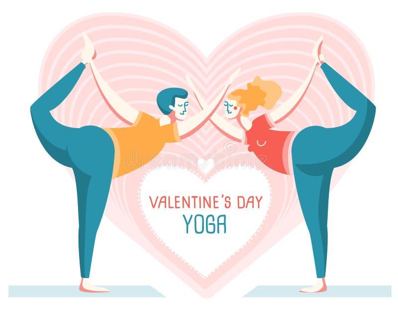 De kaart van de de Dagyoga van gelukkig Valentine Paar van Man en Vrouwen het praktizeren yoga vector illustratie
