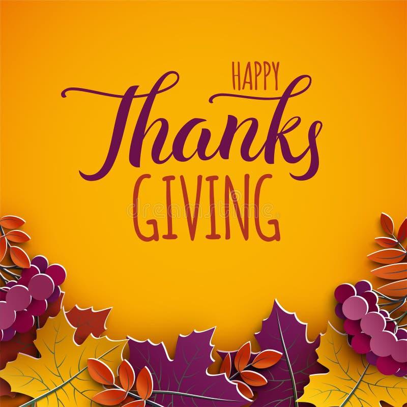 De kaart van de dankzeggingsgroet, gelukwenstekst De bladeren van de de herfstboom op gele achtergrond Herfst de dalingsbanner va vector illustratie
