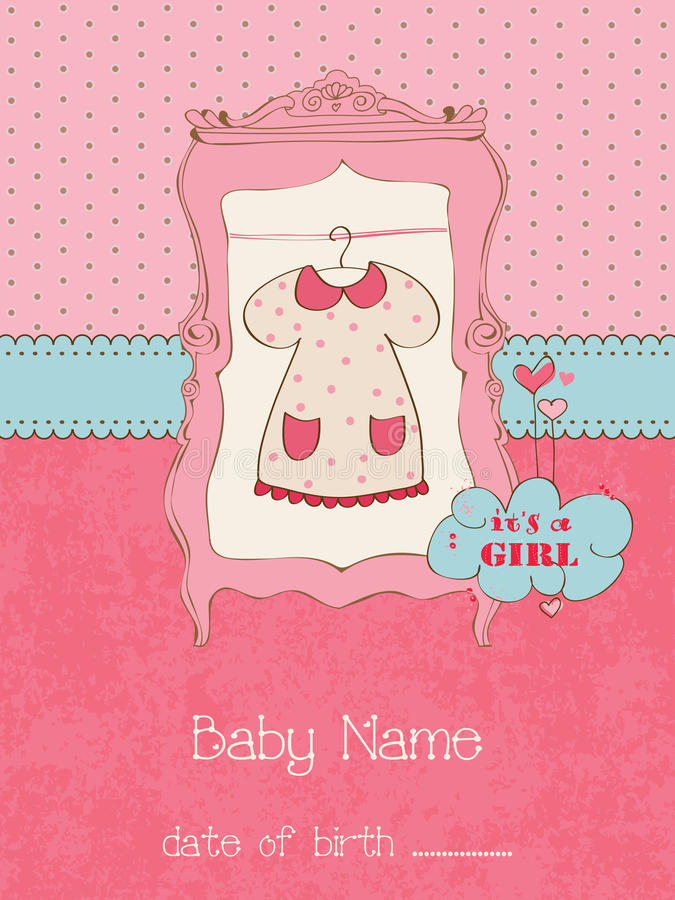 De Kaart van de Aankomst van het Meisje van de baby met het Frame van de Foto stock illustratie