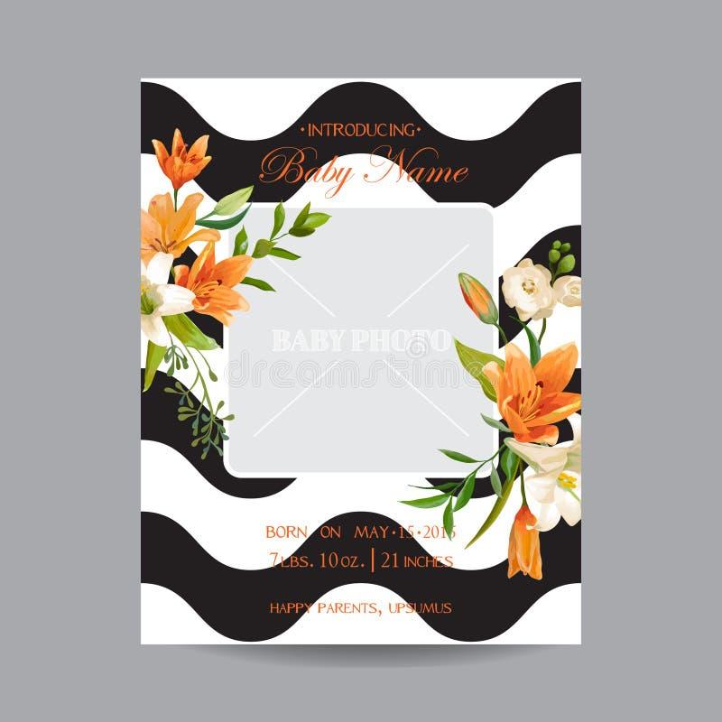 De Kaart van de babyaankomst met Fotokader - Uitstekende Lily Floral Theme stock illustratie
