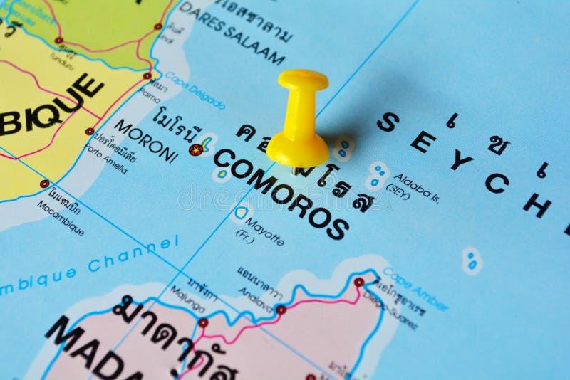 De kaart van de Comoren royalty-vrije stock afbeeldingen