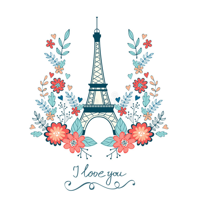 De kaart van de conceptenliefde met de toren van Eiffel en bloemen stock illustratie