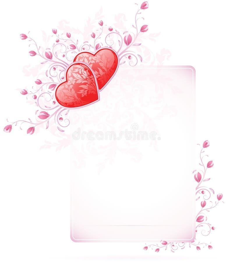 Download De Kaart Van De Dag Van Valentijnskaarten Met Bloemen Vector Illustratie - Afbeelding: 22550216