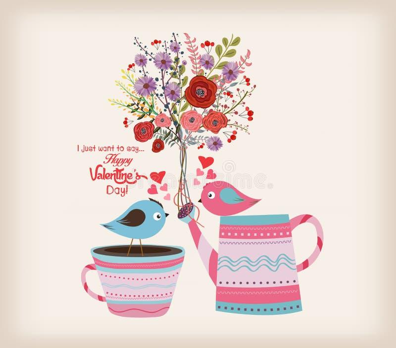 De kaart van de Dag van valentijnskaarten Mooie kaart met waterverfbloemen fles met vogels in liefde vector illustratie