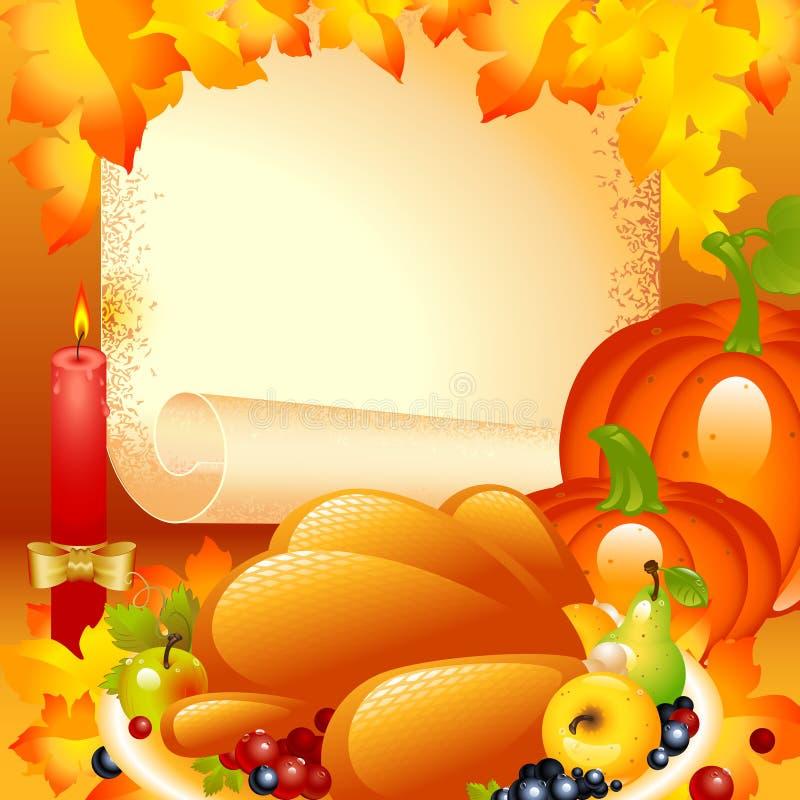 De kaart van de dankzegging. achtergrond met Turkije vector illustratie