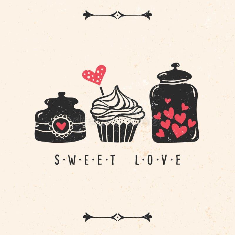 De kaart van de de daggroet van Valentine met hart, cupcake, kruik royalty-vrije illustratie