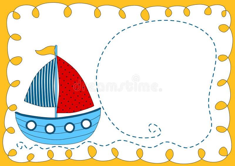De Kaart van de de Doucheuitnodiging van de babyboot stock illustratie