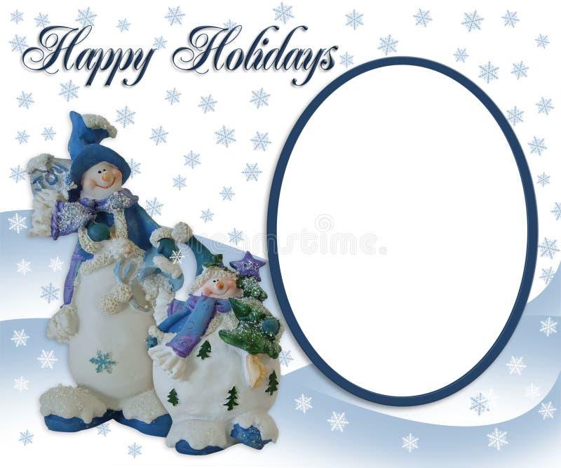 De kaart van de de fotogroet van de Sneeuwman van Kerstmis royalty-vrije illustratie