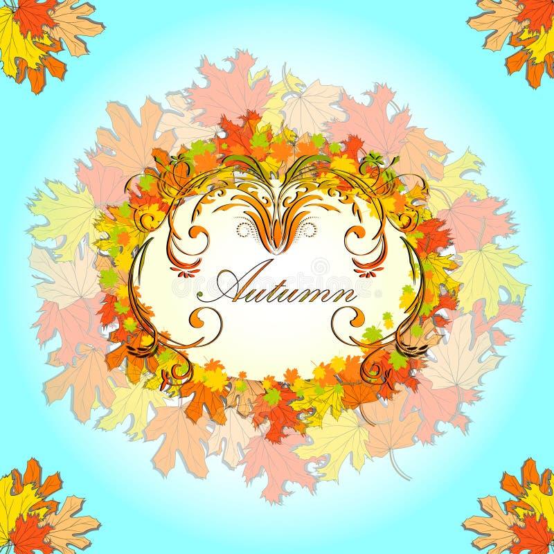 De kaart van de de herfstgroet met grens van bloemenornament en gekleurde esdoornbladeren stock illustratie