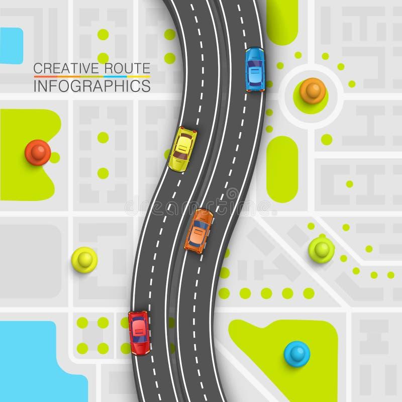 De kaart van de de informatiekunst van het wegpunt, de achtergrond van de Kaartplaats, het punt van het Wegvervoer, Vectorillustr royalty-vrije illustratie