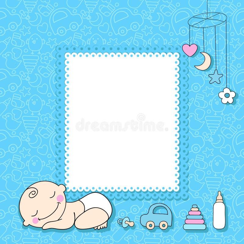 De kaart van de de jongensaankondiging van de baby. vector illustratie