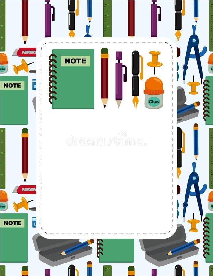 De kaart van de de schoolkantoorbehoeften van het beeldverhaal stock illustratie