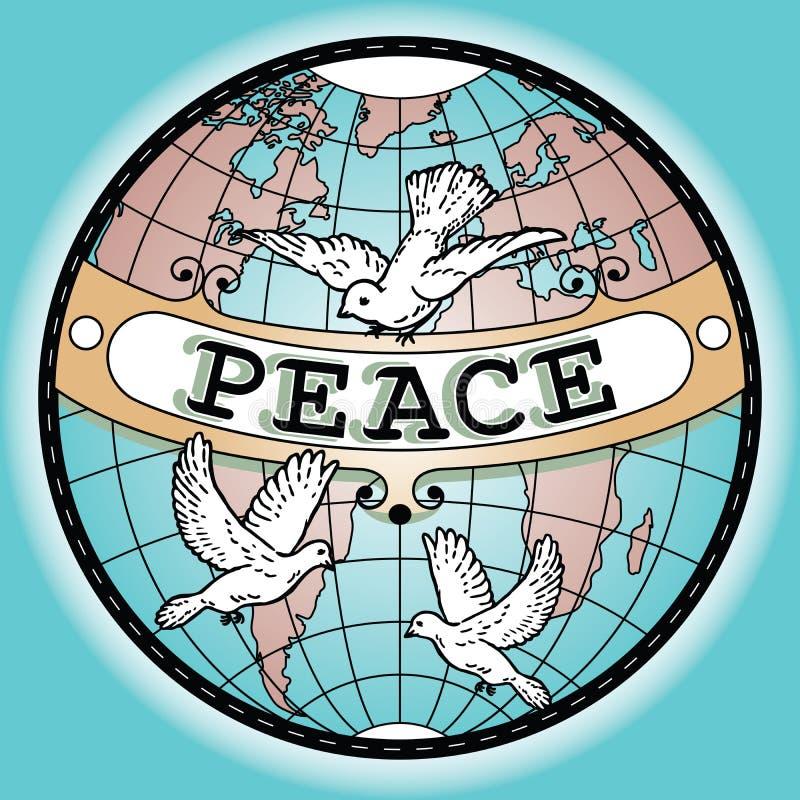 De Kaart van de de Vredesbanner van de wereldbol met Duiven vector illustratie