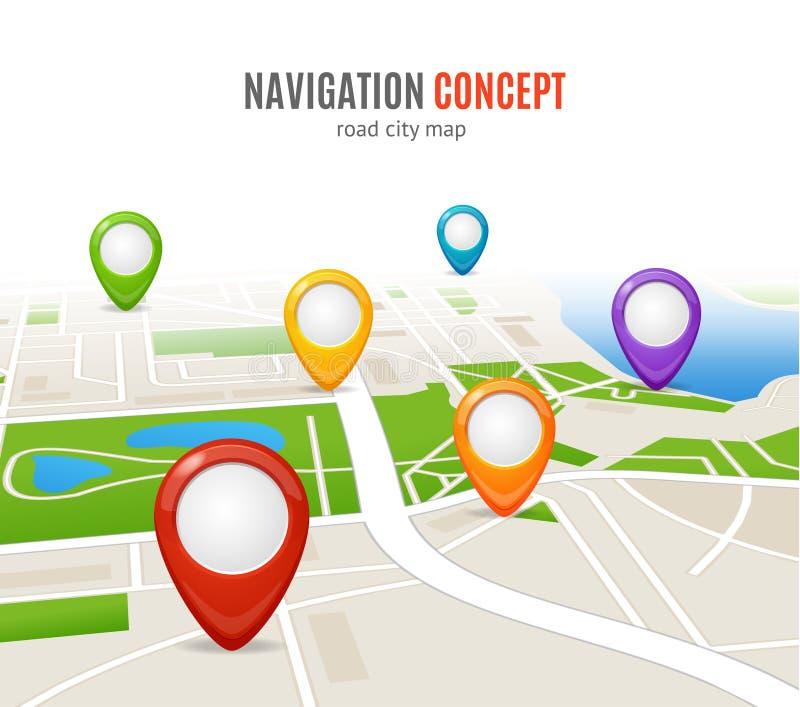 De Kaart van de de Wegstad van het navigatieconcept Vector vector illustratie