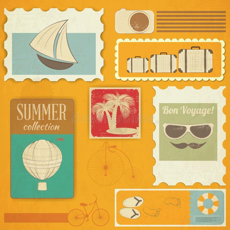 De Kaart van de de zomerreis in Uitstekende Stijl vector illustratie