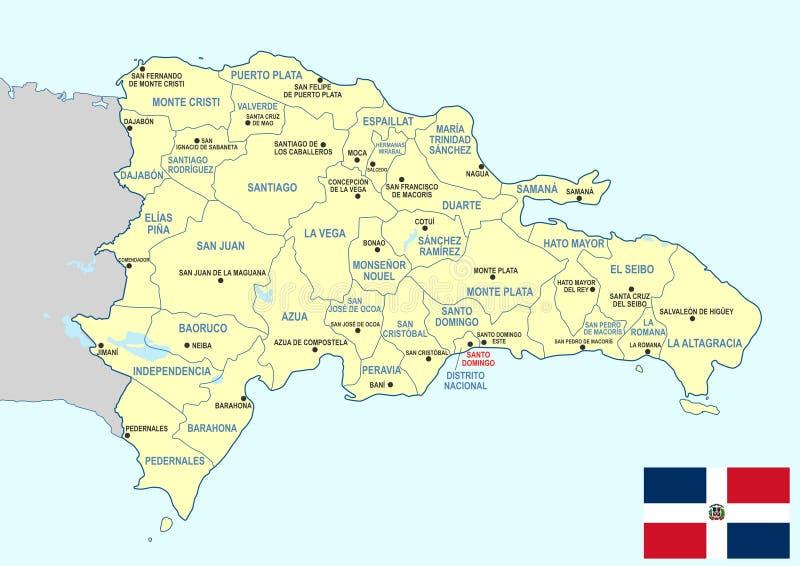 De kaart van de Dominicaanse Republiek vector illustratie