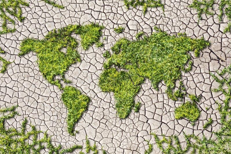 De kaart van de ecologiewereld van gras op gebarsten aardeachtergrond stock afbeelding