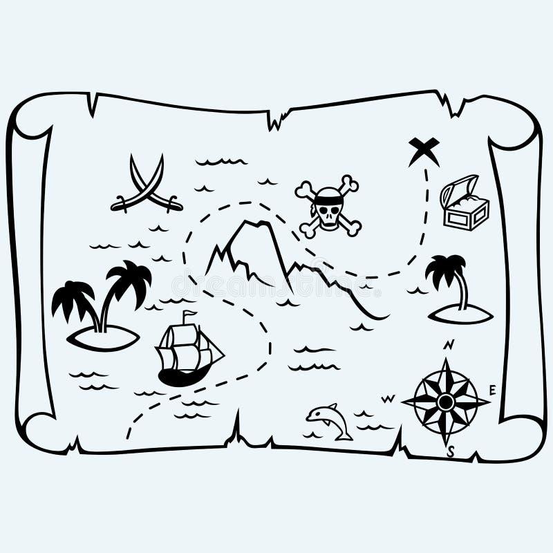De kaart van de eilandschat vector illustratie