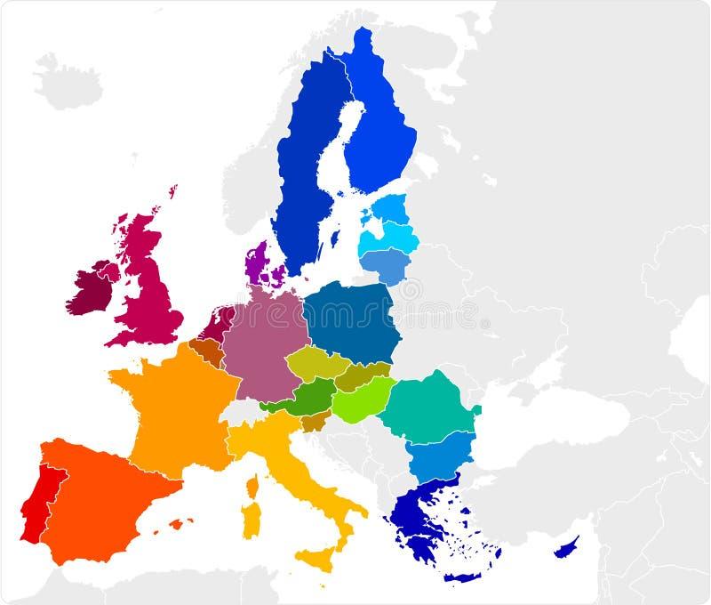 De Kaart van de Europese Unie vector illustratie