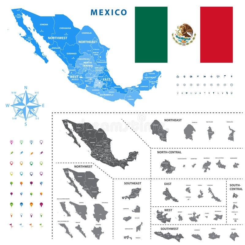 De kaart van de gebieden van Mexico vertegenwoordigt een algemeen overzicht van staten ciudades royalty-vrije illustratie