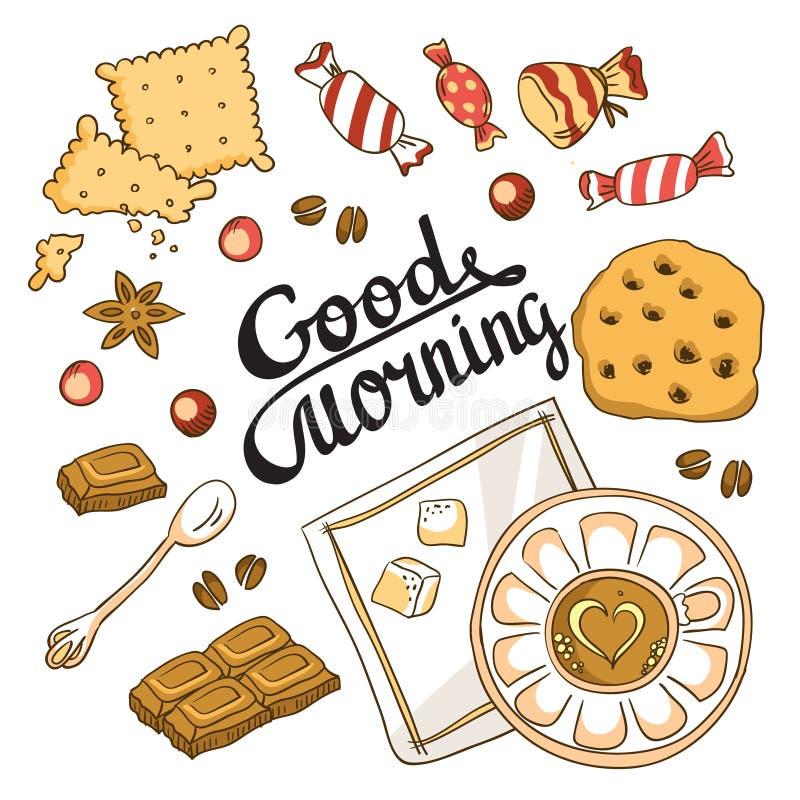 De kaart van de goedemorgen Het ontwerp van het ontbijtmenu vector illustratie