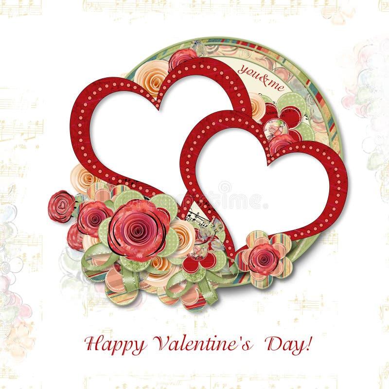 De Kaart van de groet aan de Dag van de Valentijnskaart met roses? royalty-vrije illustratie