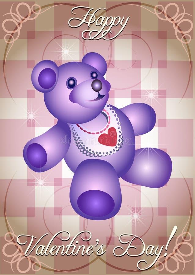 De kaart van de groet met blauwe teddybeer royalty-vrije illustratie