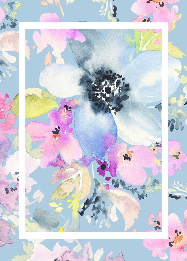 De Kaart van de groet met bloemen royalty-vrije illustratie
