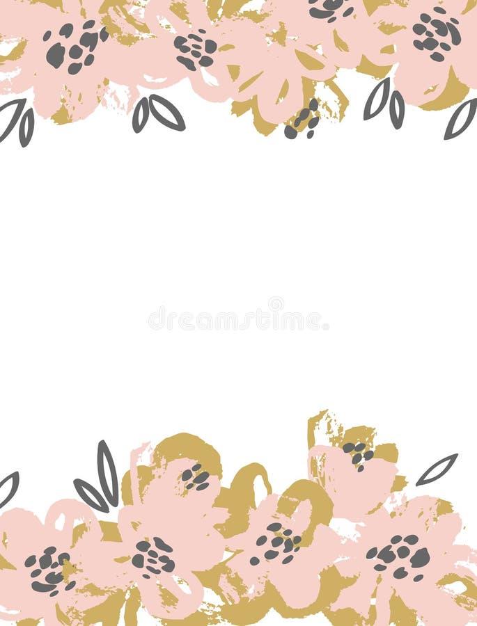 De Kaart van de groet met bloemen Vectorinktachtergrond vector illustratie