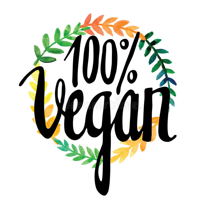 De Kaart van de groet met bloemen watercolor Hand het schilderen inschrijving vegan royalty-vrije illustratie