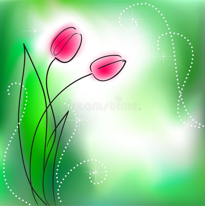 De kaart van de groet met bos van bloemen royalty-vrije illustratie