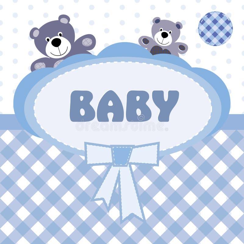De kaart van de groet met de geboorte van een babyjongen royalty-vrije illustratie