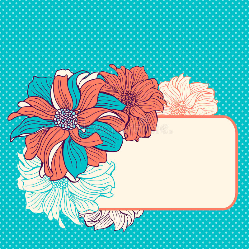 Download De Kaart Van De Groet Met Hand-drawn Bloemen Vector Illustratie - Illustratie bestaande uit liefde, overeenkomst: 54085498