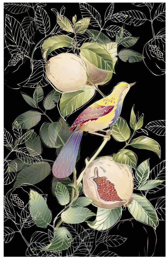 De kaart van de groet met vogels en granaatboom. royalty-vrije illustratie