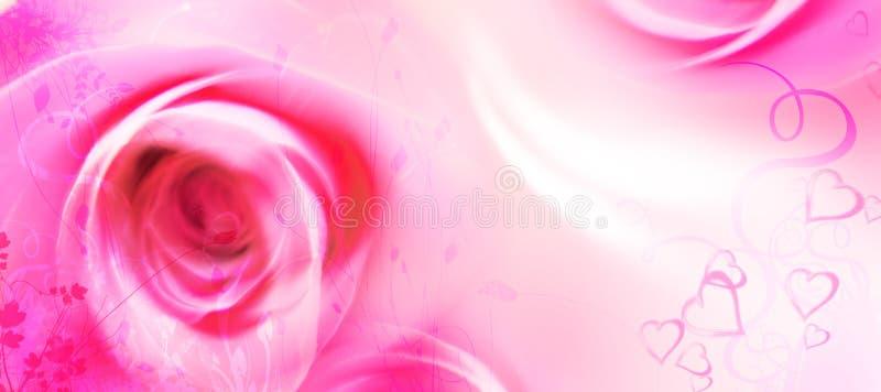 De Kaart van de Groet van de liefde - St Valentijnskaart - Bloemen - Rozen, Harten royalty-vrije illustratie