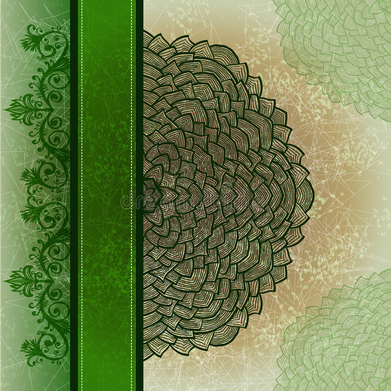 De kaart van de Grungegroet met bloemenornament stock illustratie
