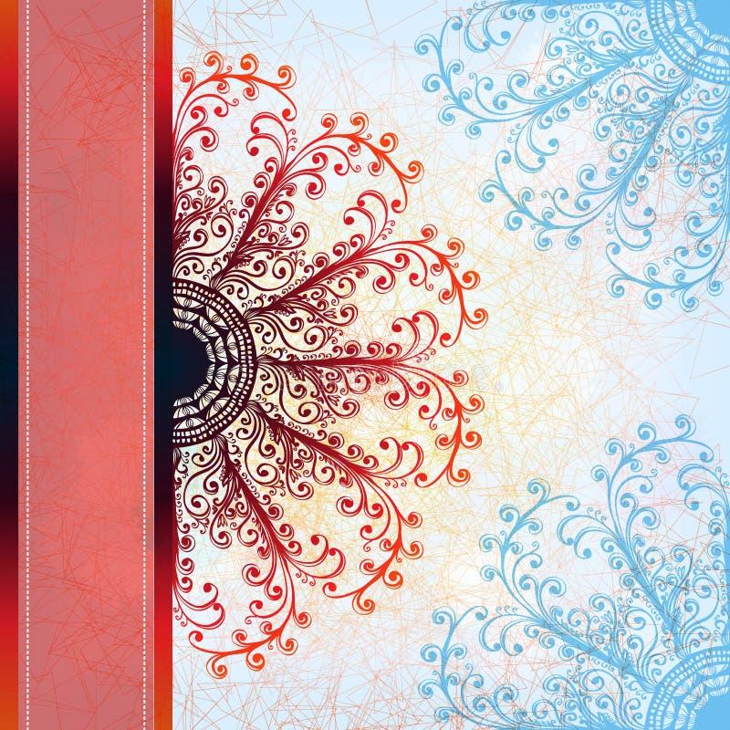 De kaart van de Grungegroet met loral ornament royalty-vrije illustratie
