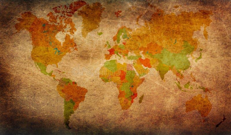 De kaart van de Grungewereld stock illustratie