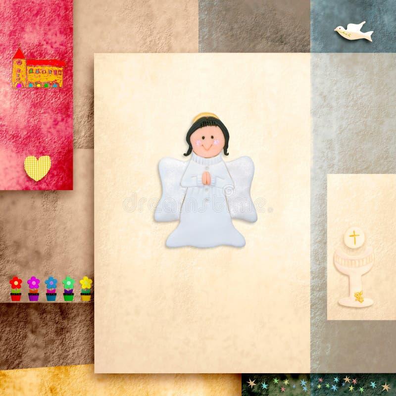 Leuke de uitnodigingskaart van de Heilige Communie van de Engel Eerste vector illustratie