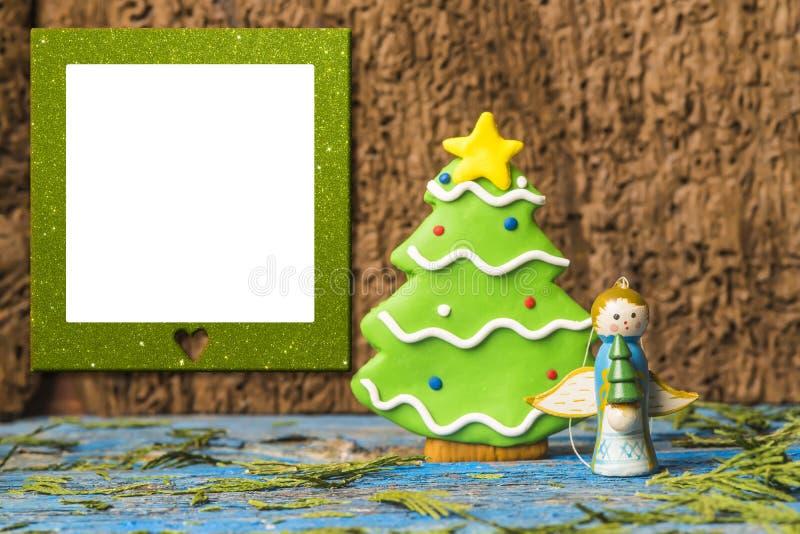 De kaart van de het kaderengel van de Kerstmisfoto stock afbeeldingen