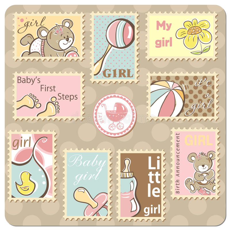 De kaart van de het meisjesaankondiging van de baby royalty-vrije illustratie