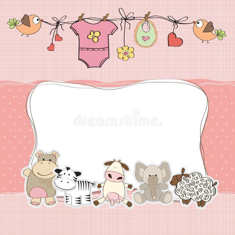 De kaart van de het meisjesdouche van de baby stock foto's