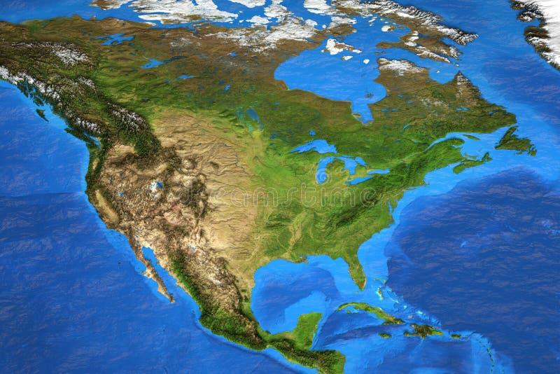 De kaart van de hoge resolutiewereld concentreerde zich op Noord-Amerika stock foto