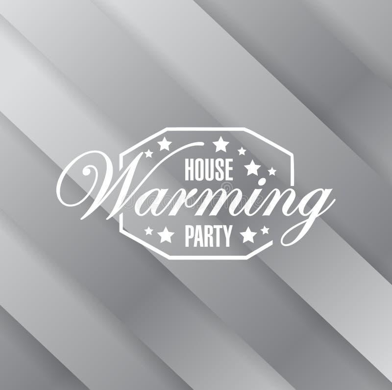 de kaart van de huis verwarmend partij metaalteken als achtergrond stock illustratie