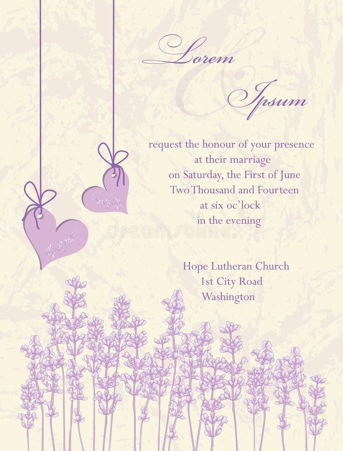 De kaart van de huwelijksuitnodiging.  Lavendelachtergrond. stock illustratie