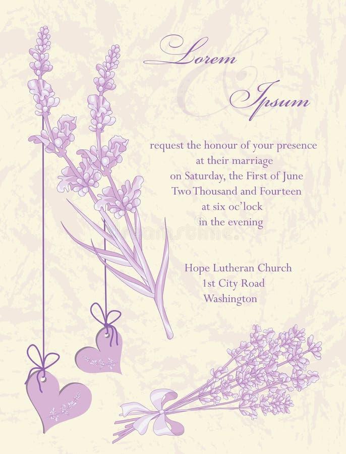 De kaart van de huwelijksuitnodiging.  Lavendelachtergrond. vector illustratie