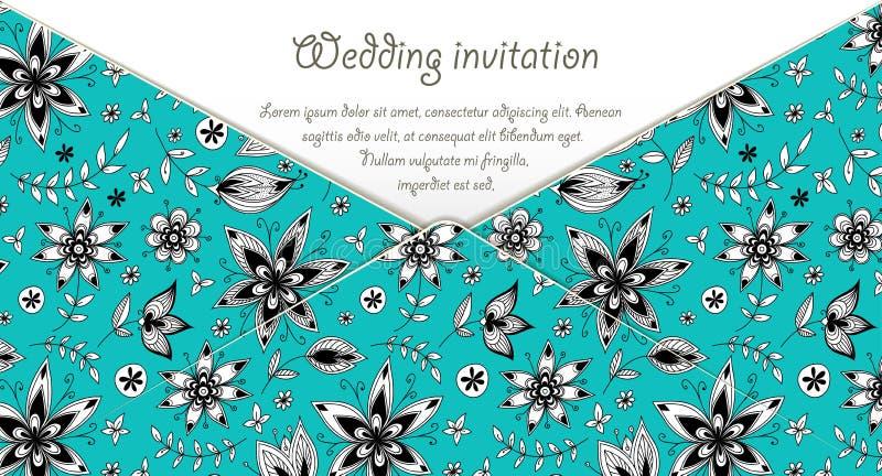 De kaart van de huwelijksuitnodiging met blauw bloemenpatroon vector illustratie
