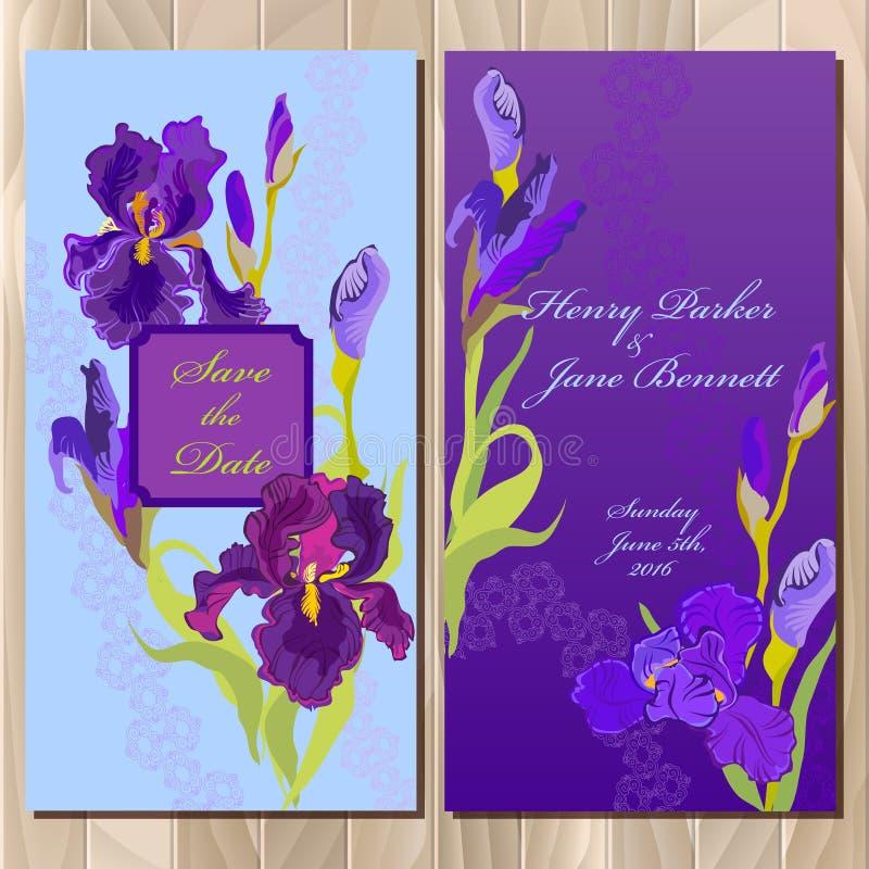 De kaart van de huwelijksuitnodiging met de purpere achtergrond van de irisbloem Vector illustratie vector illustratie