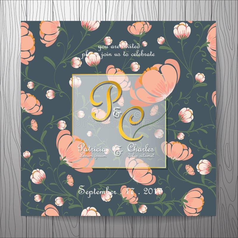De kaart van de huwelijksuitnodiging met elegante de wijnoogst van bloemmalplaatjes stock illustratie