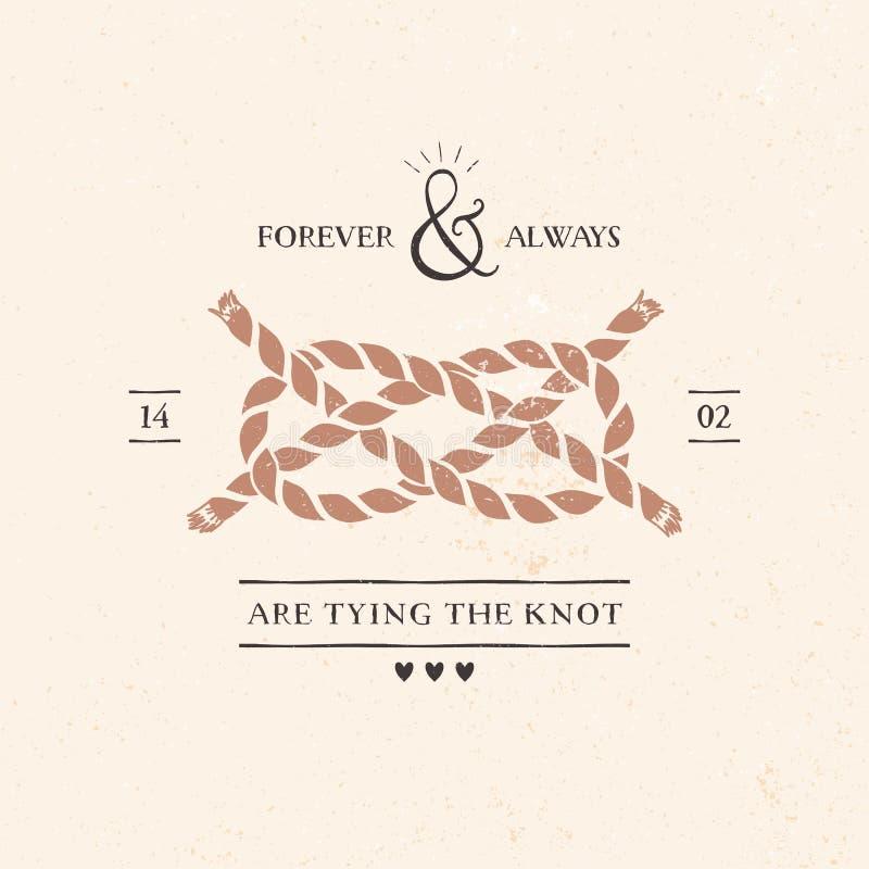 De kaart van de huwelijksuitnodiging met knoop, het van letters voorzien royalty-vrije illustratie
